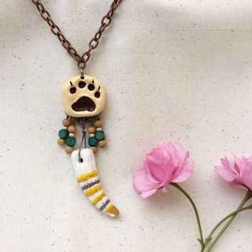 Bear Animal Spirit Totem statement Necklace native american tribal paw print claw dream catcher woodland animal jewelry