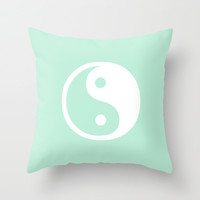 Harmony Yin Yang Mint Green Throw Pillow by BeautifulHomes | Society6