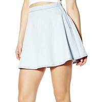 Tinted Blue Denim Skater Skirt