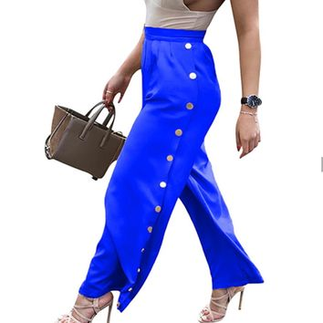 Button Detail  High Waist Slacks
