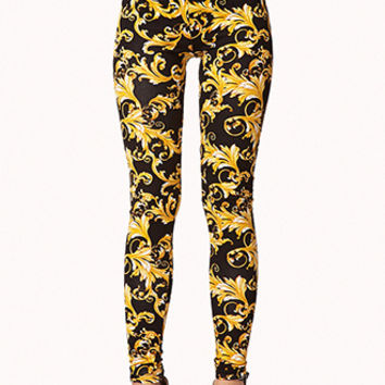 High-Waisted Antique Print Leggings