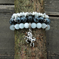 SALE -20% Natural stone bracelet set of three - Moon Stone with Black Snowflake Obsidian – Unicorn charm