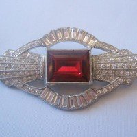 Art Deco Clear and Red Rhinestone Pin-Brooch