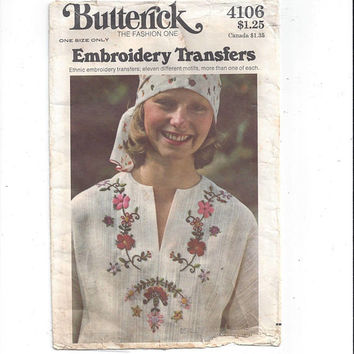 Butterick 4106 Embroidery Flowers Hot Iron Transfers Vintage Pattern, Ethnic Style, Borders, Partial Used, Home Embroidery, Vintage Pattern