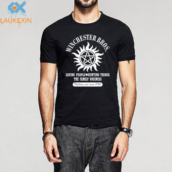 Summer Men Women Print Supernatural Winchester T Shirt Novelty Witchcraft Sam Dean Cotton O Neck T-Shirt Camisetas Brand Shirts
