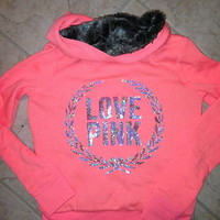 Victoria Secret Pink ❤ NEON Orange Hoodie fur sequin Bling Limited Edition  S