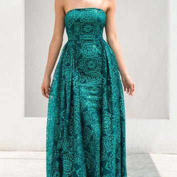 Ancient Powers Rhombus Square Mythical Green Glitter Geometric Pattern Strapless A Line Maxi Dress