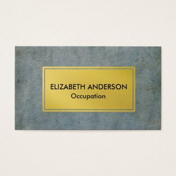 Chic Steel Blue Distressed Grunge, Gold Business Card