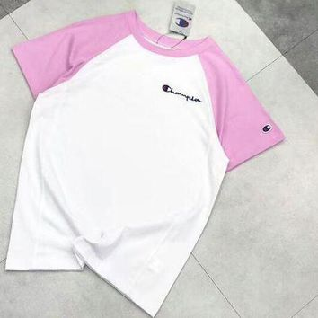 Champion Colorful Sleeve New Fashion White Fresh Color Women Men Tee Shirt Top Pink
