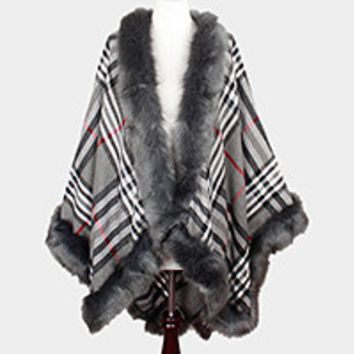 Fur trim plaid check cape poncho