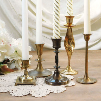 Brass Candlestick Holders Candelabra Mismatched Set of 5