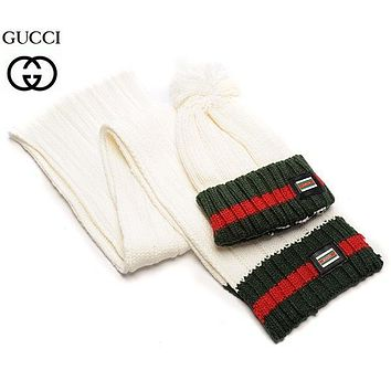 """Gucci"" Women Winter Knit Warmer Hat Cap Scarf Set"