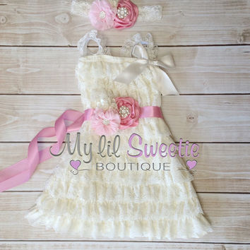Ivory, light pink,blush pink 3 piece set, dress, sash, headband, baby girl outfit, special occasion dress, toddler dress, girls dress,