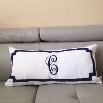 Pink Monogrammed embroidered pillow from Snazzyliving on Etsy