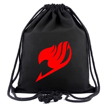 Lovely Anime Fairy Tail Drawstring Bag Canvas Backpack for Students Boy Girl Organizer Pouch Fordable Handy Drawstring Bags Gift