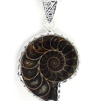 Ammonite Fossil Necklace Prehistoric Nautilus Shell Silver Tone NY20 Statement Fashion Jewelry