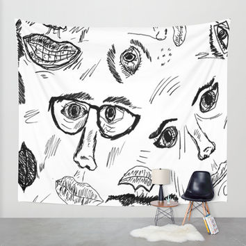 Faces Wall Tapestry by Yuval Ozery