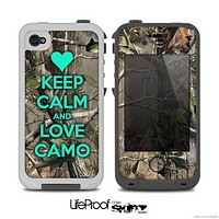 The Trendy Green Keep Calm & Love Camo Real Camouflage Skin for the iPhone 4-4s LifeProof Case