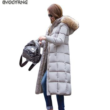 2017Winter Women Temperament Slim Parka Fashion White Duck Down Jacket Real Fur Collar Long Style White duck down Warm Coat Q702