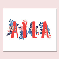 Ayla Baby Name Wall Art Ayla Baby Name Sign Ayla Party Printable Ayla Party Decorations Ayla Art