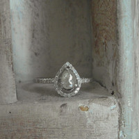 Teardrop shaped14k solid white gold high setting by EnzoLuccati