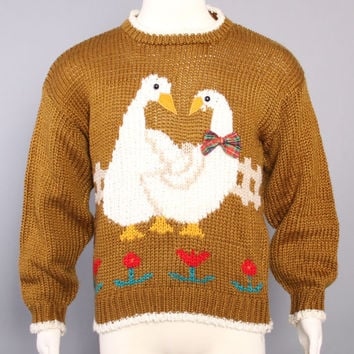 80s Hand Knit GEESE SWEATER /  Ugly Christmas Wool Pullover, m