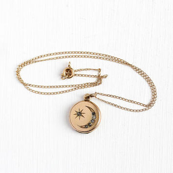 Antique Moon Locket - Star & Crescent Rhinestone Necklace - Dainty Gold Filled Victorian Edwardian 1900s Fob Pendant Picture Jewelry