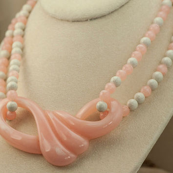 Vintage Pink and White Double Stranded Lucite Choker/Necklace with Large Pink Art Deco Pendant