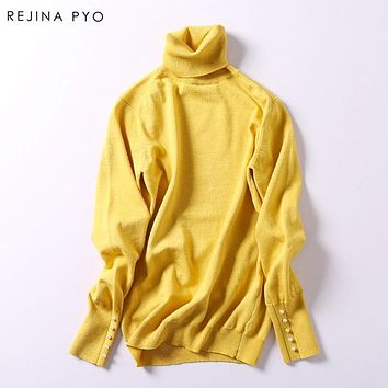 Rejina Pyo Women's Basic Solid Thin Knitted Sweater Pullovers with Pearl Button Sleeve Turtleneck Office Lady Autumn Sweater