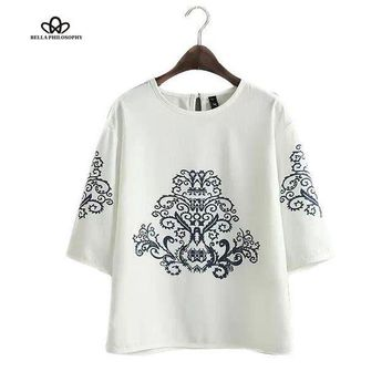 MDIGHY9 2015 summer autumn new vintage ethnic black baroque floral placement print half sleeve white pullover blouse shirt