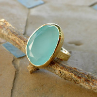 Blue Chalcedony Ring - 14k Gold Plated Unique Stone Ring