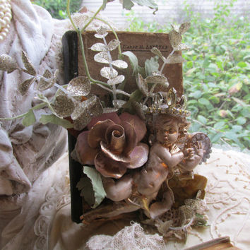 French vintage cherub embellished book all vintage and antique adornments holiday and home decor anita spero