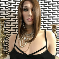 Highlighted Brown Hair Lace Front Wig s5 SHORT BOB STYLE