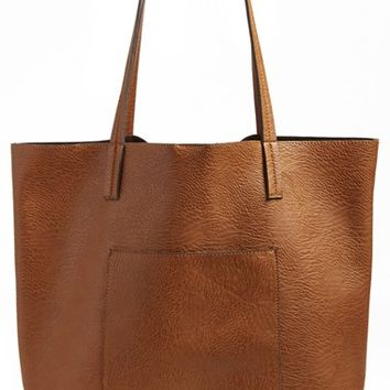 Junior Women's Street Level Vegan Leather Pocket Tote