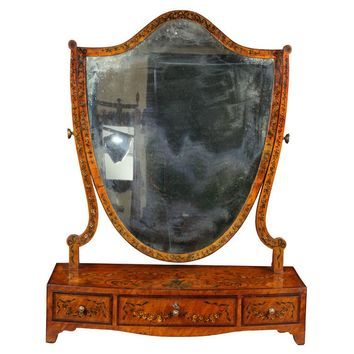 George III Painted Satinwood Dressing Mirror, England, circa 1800