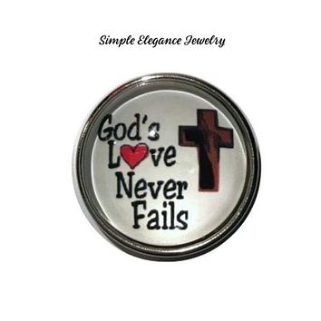 God's Love Never Fails Snap Charm 20mm for Snap Jewelry