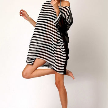 Oversized Black White Stripes Beach Cover Up