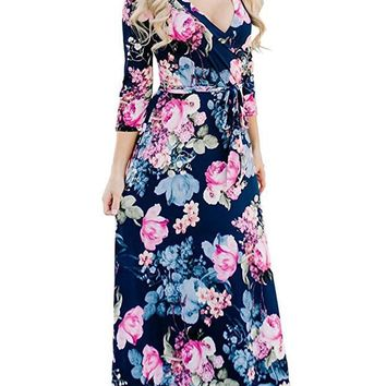 Spring Floral Print Female Dress Women V Neck Long Sleeve with Sashes Dresses Casual Ladies Holidays Sexy Clothing