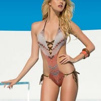 Free Spirit One Piece Chevron Monokini | Lady Lux® Designer Swimwear