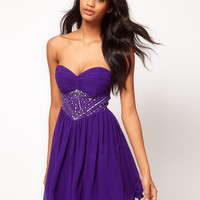 Little Mistress Embellished Corset Panel Babydoll Dress at asos.com