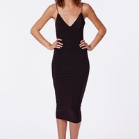 ELODIA SLINKY STRAPPY MIDI DRESS BLACK
