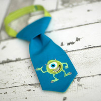 Little Guy Tie - Monsters Inc Mike Wazowski - Infant through 8 years - Pre-Tied with Adjustable Velcro Closure