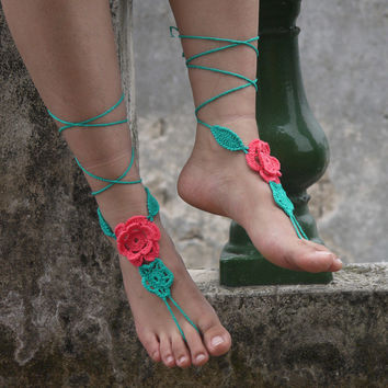 applique Paisley flower Crochet Barefoot sandals Nude shoes, Foot hippie jewelry, Victorian Lace, Sexy Anklet, Boho accessorie
