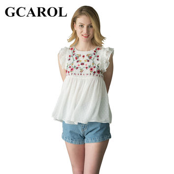 GCAROL 2017 Women Embroidery Floral Blouse Royan Spliced Sleeveless Floral Tops High Quality Causal Baby Doll Tops For Ladies