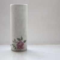 Micro Tube vase made from English fine bone china with an aged and vintage flowers illustrations - illustrated ceramics