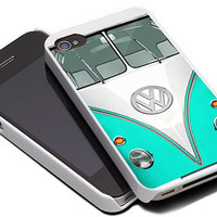 Mint Mini bus volkswagen For iPhone 4/4S Case and iPhone 5 Case