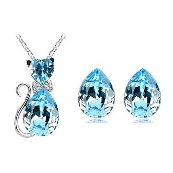 Fashion  Gold Color Austrian Crystal Cat Catty Pendant Necklace Earrings Wedding Bridal Jewelry Sets