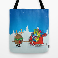rudolph the red nosed hedgehog Tote Bag by mangulica