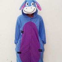 New Winter Adult Cartoon Sleepwear Cute Onesuits Animal Piece Pajamas Donkey Sleepwear With Hat (XL)