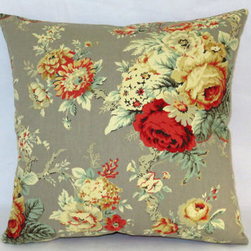 "Waverly Grey Rose Pillow, 17"" Square Cotton, Sanctuary Norfolk, Coral Rust Gold Mint, Zipper Cover Only or Insert Included, Ready to Ship"